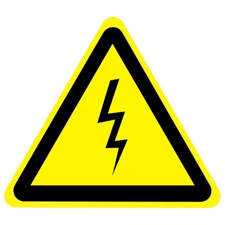 electrocute: high voltage danger sign isolated on a solid white background Stock Photo
