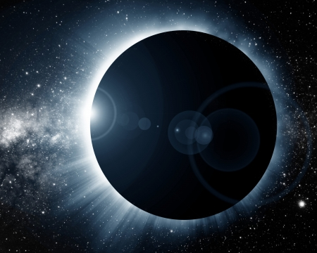 eclipse: total solar eclipse on a dark background Stock Photo