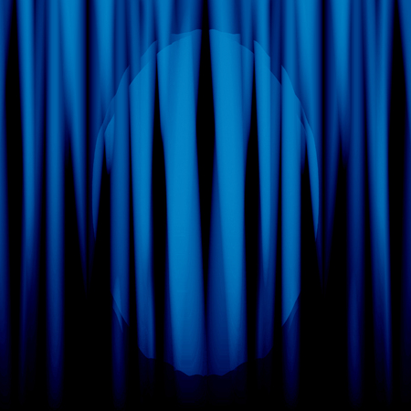 blue movie or theatre curtain with a bright spotlight