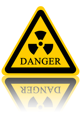 yellow nuclear sign isolated on a solid white background Stock Photo - 23285857
