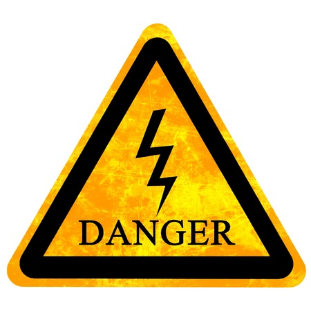 high voltage danger sign isolated on a solid white background Stock Photo