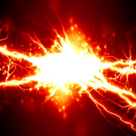 electrocute: bright electrical spark on a dark red background Stock Photo
