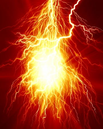 implode: electrical spark or lightning on a bright red background Stock Photo