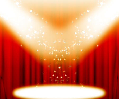 star background: red movie or theater curtains with a bright spotlight on it Stock Photo