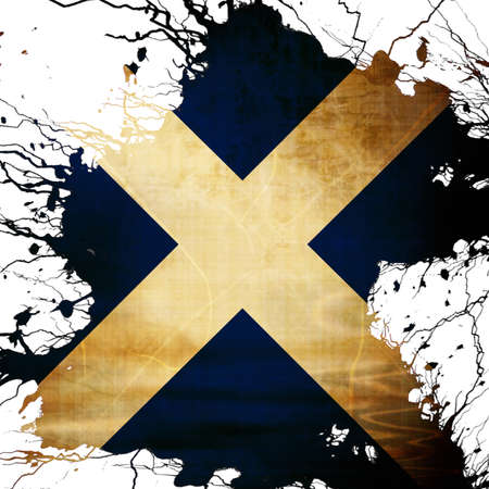 scottish flag: Scottish flag  with some grunge effects and lines Stock Photo