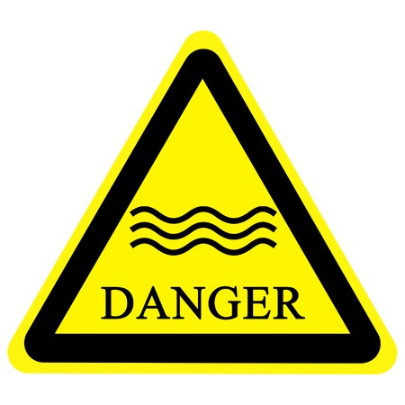 yellow flood sign isolated on a solid white background photo
