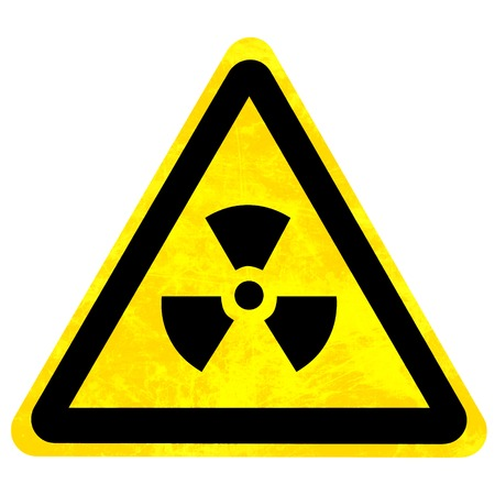 isotope: yellow nuclear sign isolated on a solid white background