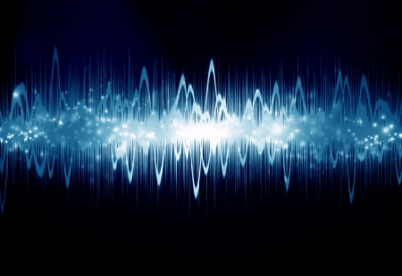 audio wave: bright sound wave on a dark blue background Stock Photo