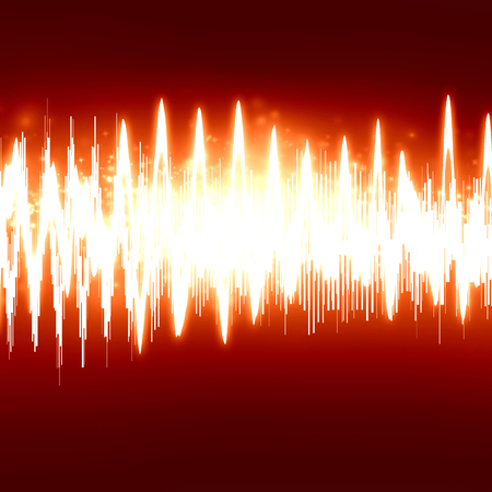 vibrations: bright sound wave on a soft red background