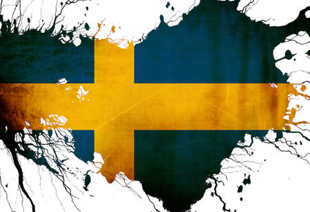 Swedish flag  with some grunge effects and lines