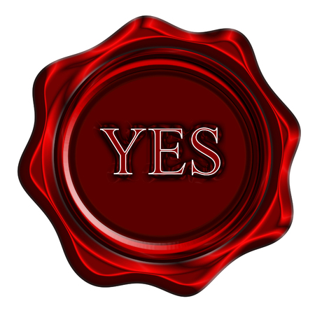 red wax seal with yes written on it photo