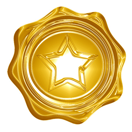 golden seal with a star on it photo