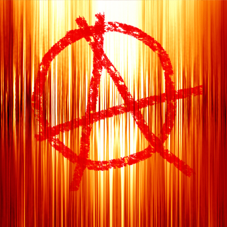 anarchy: anarchy symbol on a soft red fire background