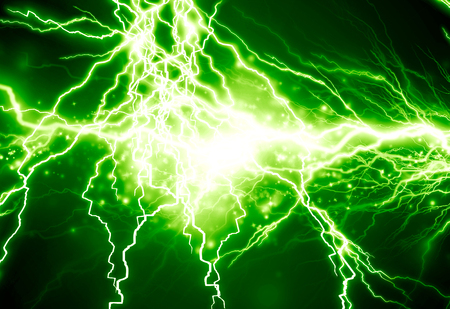 electrocute: bright electrical spark on a dark green background Stock Photo