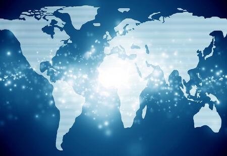 world map on a dark blue background