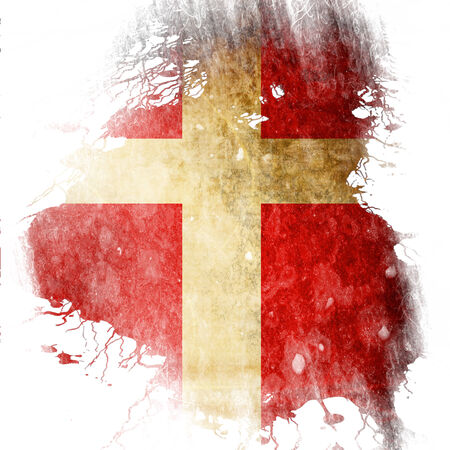 Danish flag  with some grunge effects and lines photo
