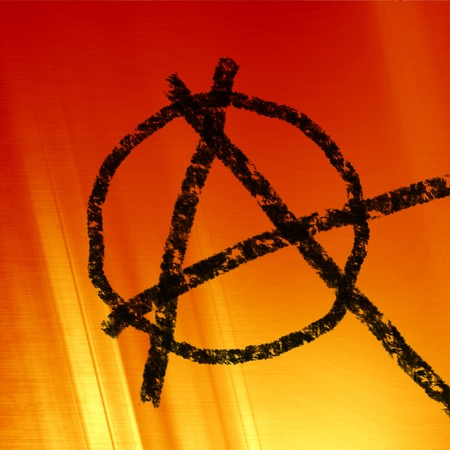 anarchist: anarchy symbol on a soft red fire background
