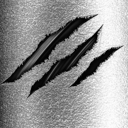 three claw marks on a metal panel background photo