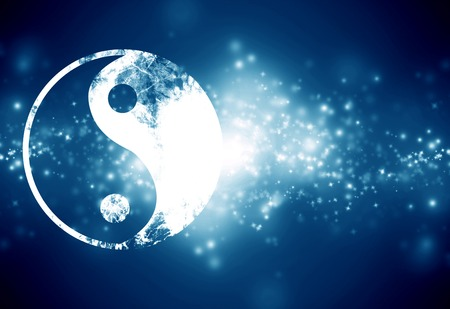 yin yang sign on a dark blue background