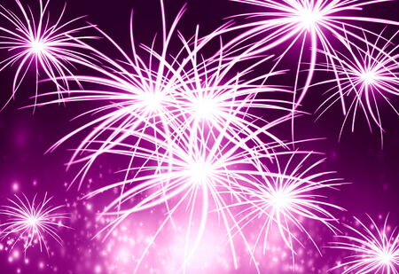 fire works: bright glowing fireworks exploding in the night sky Stock Photo