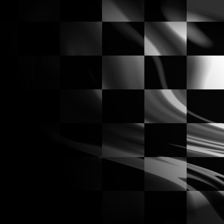black and white racing flag with some smooth folds in it photo