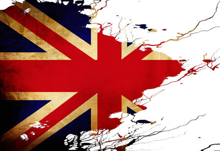UK flag  with some grunge effects and lines Stock Photo