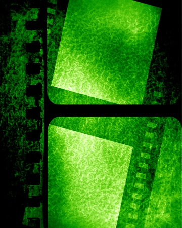 grunge green filmstrip with some spots and stains on it photo