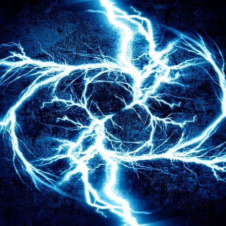 thunder and lightning: bright electrical spark on a dark blue background Stock Photo