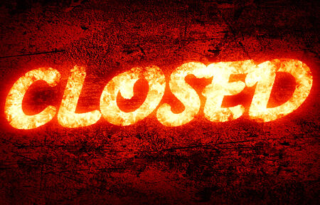 closed written on a glowing red background photo