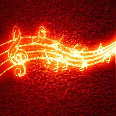 red background with some music notes on it photo