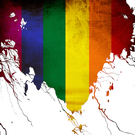 Gay pride flag with some grunge effects and lines photo