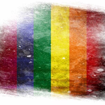 bandera gay: Bandera del orgullo gay con algunos efectos del grunge y l�neas