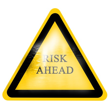 risk ahead sign isolated on a solid white background photo