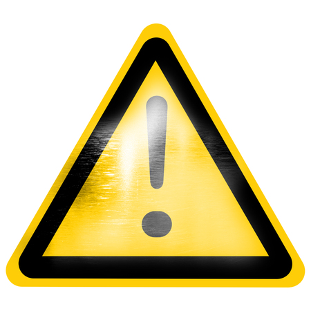 warning sign with exclamation mark isolated on a solid white background photo