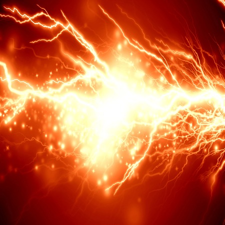 electrical spark or lightning on a bright red background photo