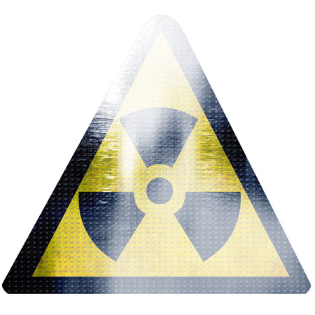 black and yellow nuclear sign isolated on a white background Stock Photo