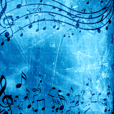 soft blue background with some music notes on it photo