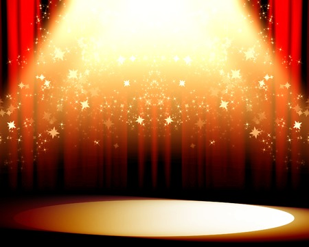 red movie or theater curtains with a bright spotlight on it Stock Photo