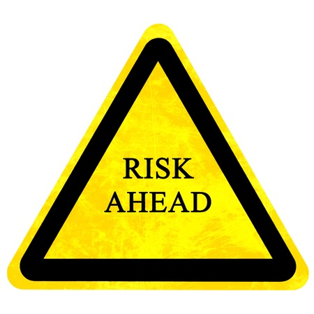 risk ahead: risk ahead sign isolated on a solid white background Stock Photo