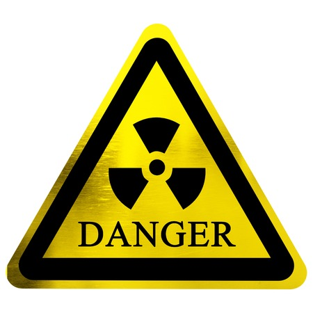 yellow nuclear sign isolated on a solid white background
