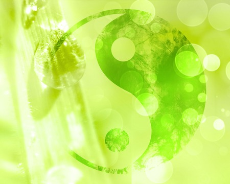 chinese philosophy: yin yang sign on a natural green background Stock Photo
