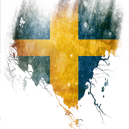 Swedish flag  with some grunge effects and lines photo