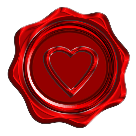 heartache: red wax seal with a heart shape on it