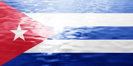 Cuba flag with some soft highlights and folds Stock Photo
