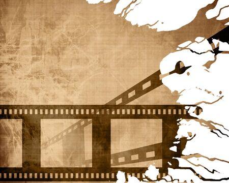 adn: Textura de papel viejo con algunas manchas y tira de película Foto de archivo