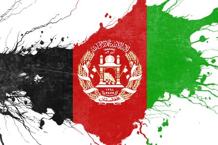 folds: Afghanistan flag with some soft highlights and folds Stock Photo