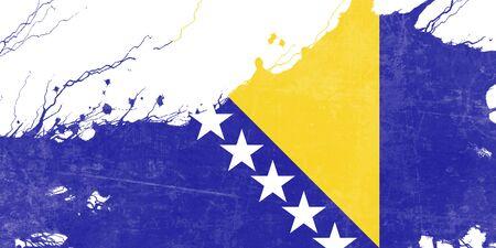 folds: Bosnia and Herzegovina flag with some soft highlights and folds