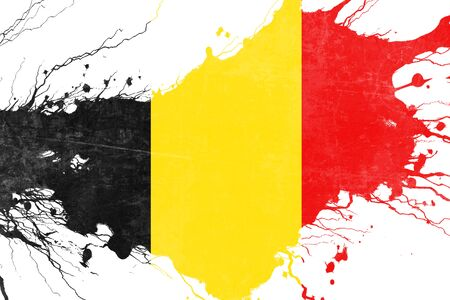 folds: Belgium flag with some soft highlights and folds Stock Photo