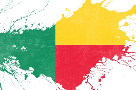 folds: Benin flag with some soft highlights and folds