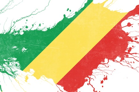 folds: Congo flag with some soft highlights and folds Stock Photo